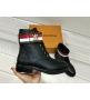 Женские ботинки Louis Vuitton (Луи Виттон) Wonderland кожаные Black