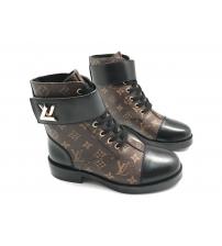 Ботинки женские Louis Vuitton (Луи Виттон) Wonderland кожаные на шнурках Black/Brown
