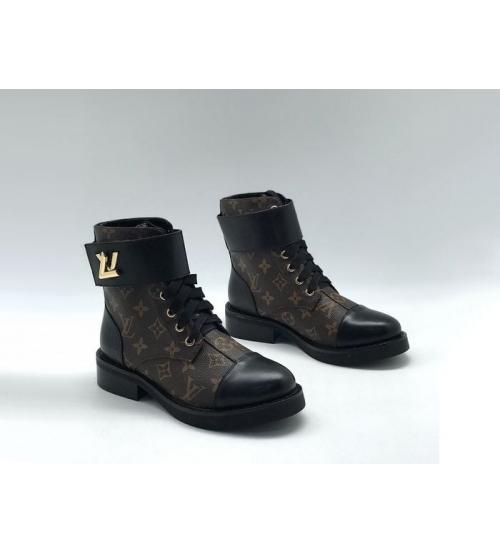 Ботинки женские Louis Vuitton (Луи Виттон) Wonderland кожаные на шнуровке с ремнем Brown