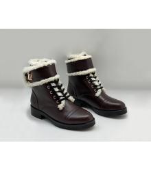 Зимние на меху ботинки женские Louis Vuitton (Луи Виттон) Wonderland Ranger кожаные на шнуровке Brown