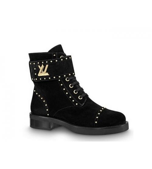 Женские ботинки Louis Vuitton (Луи Виттон) Wonderland замшевые с логотипом Black