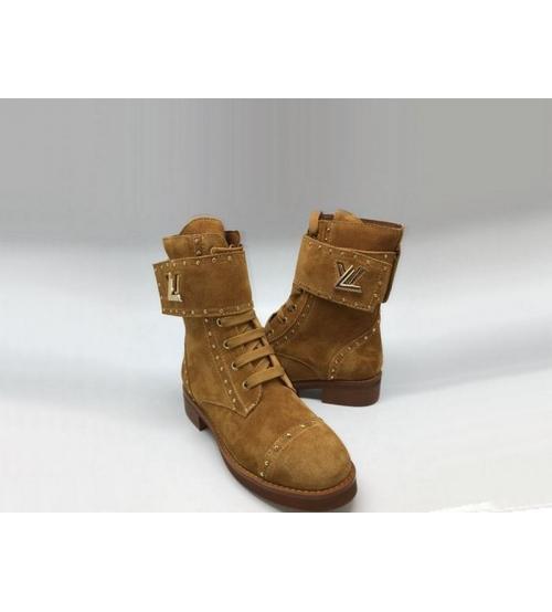Женские ботинки Louis Vuitton (Луи Виттон) Wonderland замшевые с логотипом Brown
