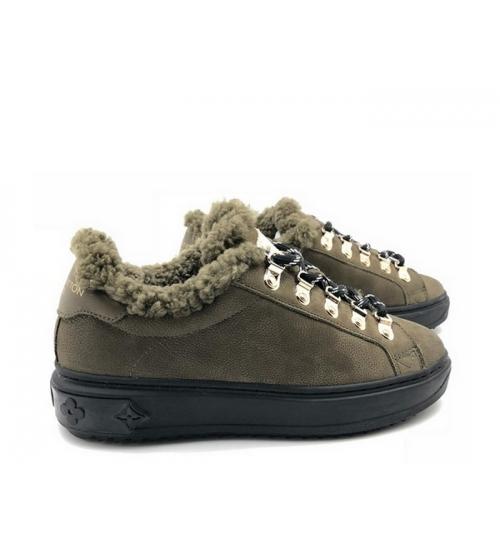 Женские зимние кеды Louis Vuitton (Луи Виттон) Millenium замшевые с мехом на шнурках Brown