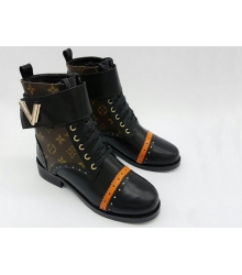 Ботинки женские Louis Vuitton (Луи Виттон) зимние на меху кожаные Black/Brown