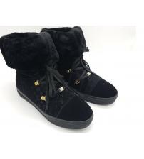 Кеды женские Louis Vuitton (Луи Виттон) зимние с мехом Black