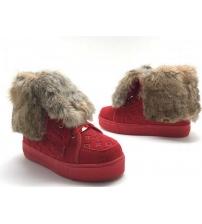 Кеды женские Louis Vuitton (Луи Виттон) зимние замшевые на меху Red