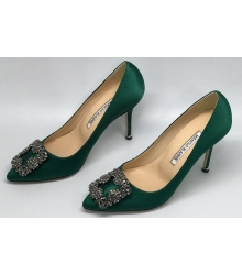 Туфли женские Manolo Blahnik (Маноло Бланко) Hangisi атласные Green