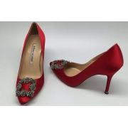 Туфли женские Manolo Blahnik (Маноло Бланко) Hangisi атласные Red