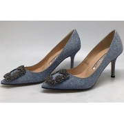 Туфли женские Manolo Blahnik (Маноло Бланко) Hangisi с блестками Grey