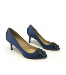 Женские туфли Manolo Blahnik (Маноло Бланко) Hangisi средний каблук Dark Blue