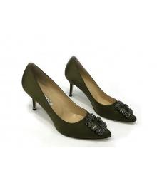 Женские туфли Manolo Blahnik (Маноло Бланко) Hangisi средний каблук Dark Green