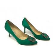 Женские туфли Manolo Blahnik (Маноло Бланко) Hangisi средний каблук Green
