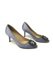Женские туфли Manolo Blahnik (Маноло Бланко) Hangisi средний каблук текстиль Gray