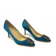 Женские туфли Manolo Blahnik (Маноло Бланко) Hangisi средний каблук текстиль Blue