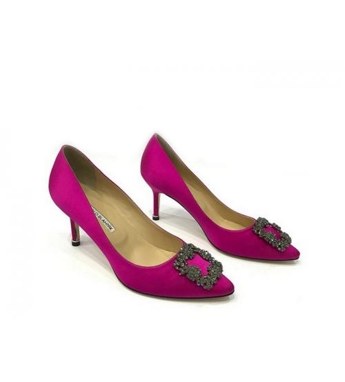 Женские туфли Manolo Blahnik (Маноло Бланко) Hangisi средний каблук текстиль Crimson