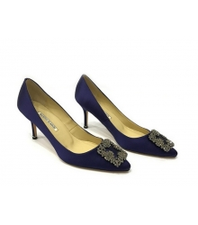 Женские туфли Manolo Blahnik (Маноло Бланко) Hangisi средний каблук текстиль Dark Blue