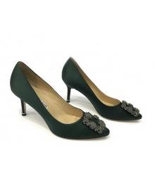 Женские туфли Manolo Blahnik (Маноло Бланко) Hangisi средний каблук текстиль Dark Green
