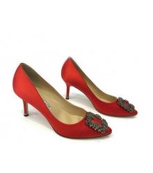 Женские туфли Manolo Blahnik (Маноло Бланко) Hangisi средний каблук текстиль Red