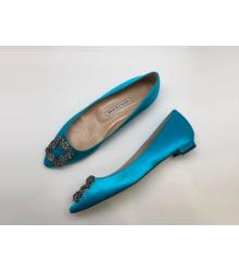 Балетки женские Manolo Blahnik (Маноло Бланко) Hangisi текстиль Blue