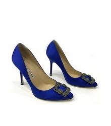 Женские туфли-лодочки Manolo Blahnik (Маноло Бланко) Hangisi высокий каблук текстиль Blue