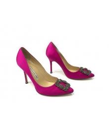 Женские туфли-лодочки Manolo Blahnik (Маноло Бланко) Hangisi высокий каблук текстиль Crimson