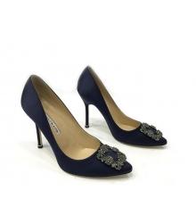 Женские туфли Manolo Blahnik (Маноло Бланко) Hangisi высокий каблук текстиль Dark Blue