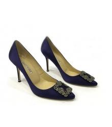 Женские туфли-лодочки Manolo Blahnik (Маноло Бланко) Hangisi высокий каблук текстиль Dark Blue