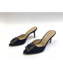 Мюли женские Manolo Blahnik (Маноло Бланик) Hangisimu текстиль Black