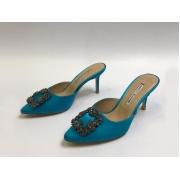 Мюли женские Manolo Blahnik (Маноло Бланик) Hangisimu текстиль Blue