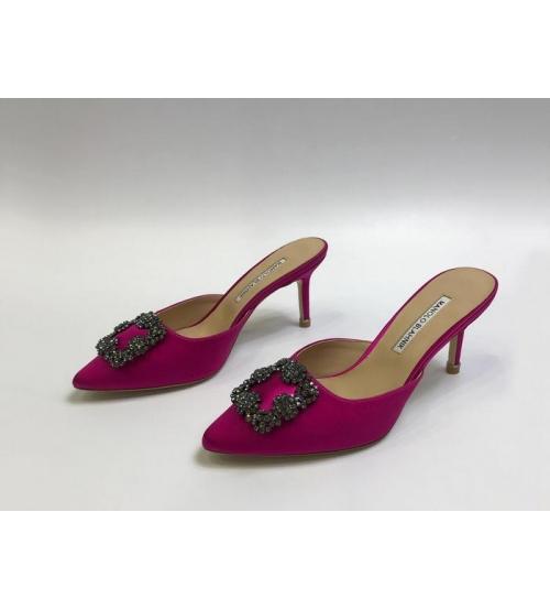 Мюли женские Manolo Blahnik (Маноло Бланик) Hangisimu текстиль Crimson
