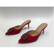 Мюли женские Manolo Blahnik (Маноло Бланик) Hangisimu текстиль Red