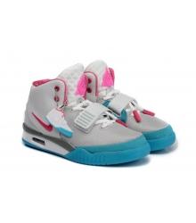 Кроссовки Nike Air Yeezy 2 (Найк Аир Изи) White/Blue/Pink