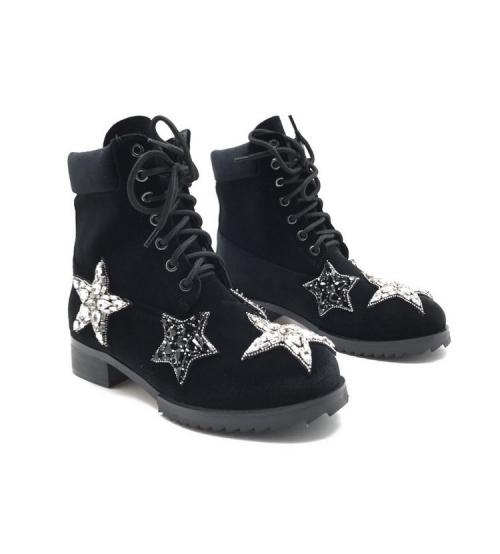 Ботинки женские Nomer 21 (Алессандро Dель Акуа) велюровые Black
