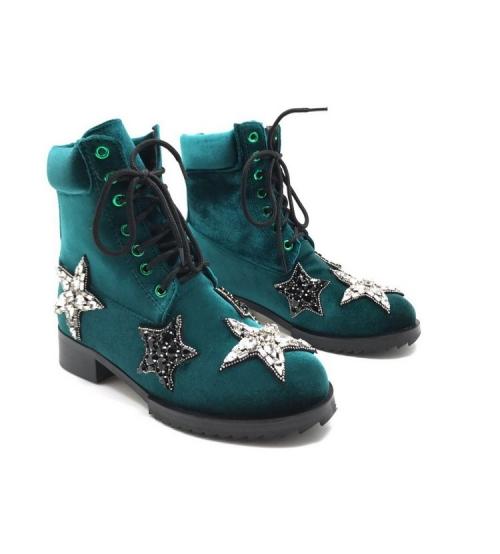 Ботинки женские Nomer 21 (Алессандро Dель Акуа) велюровые Green