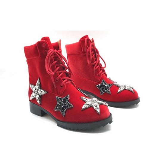 Ботинки женские Nomer 21 (Алессандро Dель Акуа) велюровые Red