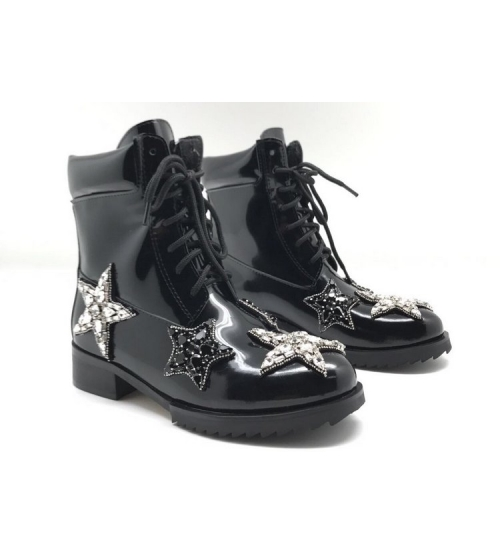Ботинки женские Nomer 21 (Алессандро Dель Акуа) кожаные Black