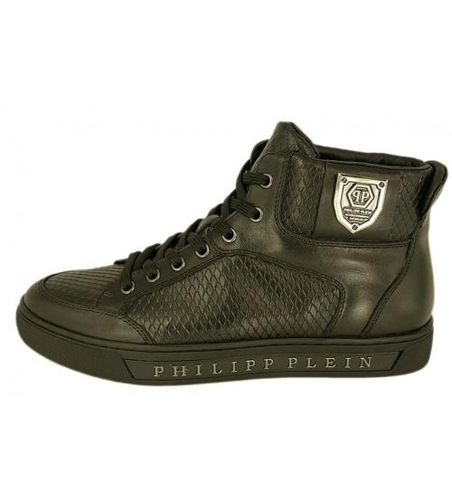 Кроссовки мужские Philipp Plein (Филипп Плейн) Anniston кожаные Black