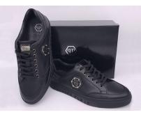 Мужские кроссовки Philipp Plein (Филипп Плейн) кожаные на шнурках Black