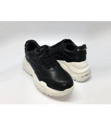 Женские кроссовки Philipp Plein (Филипп Плейн) кожаные на шнурках Black/White