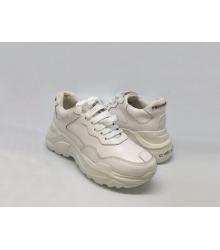 Женские кроссовки Philipp Plein (Филипп Плейн) кожаные на шнурках White