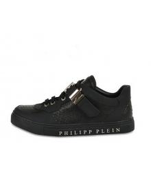 Кроссовки мужские Philipp Plein (Филипп Плейн) кожаные (ПИТОН) с липучкой Black