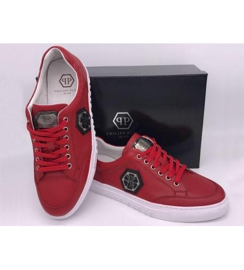 Мужские кроссовки Philipp Plein (Филипп Плейн) кожаные Red