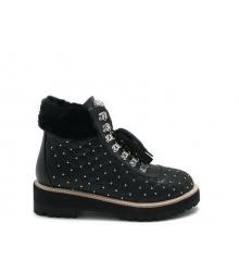 Ботинки женские Philipp Plein (Филипп Плейн) кожаные с клепками Black