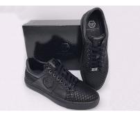 Мужские кроссовки Philipp Plein (Филипп Плейн) кожаные с рептилией Black