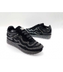 Женские кроссовки Philipp Plein (Филипп Плейн) текстиль со стразами Black
