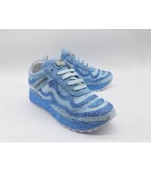 Женские кроссовки Philipp Plein (Филипп Плейн) кожаные со стразами Blue