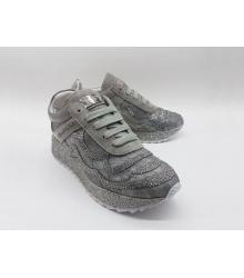 Женские кроссовки Philipp Plein (Филипп Плейн) кожаные со стразами Grey