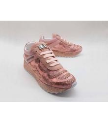 Женские кроссовки Philipp Plein (Филипп Плейн) текстиль со стразами Pink