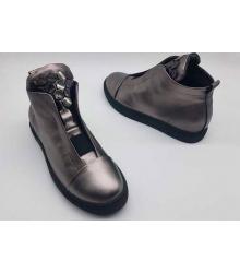 Ботинки женские Philipp Plein (Филипп Плейн) на танкетке кожаные Grey