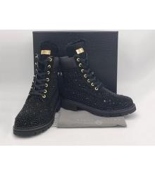 Женские ботинки Philipp Plein (Филипп Плейн) зимние кожаные на шнурках Black
